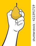 hand holding pear | Shutterstock .eps vector #421391719