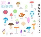 mushrooms set isolated on white ... | Shutterstock .eps vector #421393054