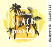 summer beach party. modern... | Shutterstock .eps vector #421393918