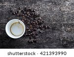 paper cup of drunk coffee with... | Shutterstock . vector #421393990
