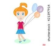 little girl with balloons.... | Shutterstock .eps vector #421397914
