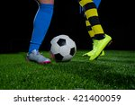 soccer player doing kick with... | Shutterstock . vector #421400059