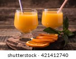 citrus juice and fruits on... | Shutterstock . vector #421412740