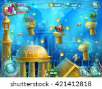 atlantis ruins playing field  ... | Shutterstock .eps vector #421412818