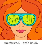hippie love and peace... | Shutterstock .eps vector #421412836