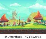 seamless cartoon stylized... | Shutterstock .eps vector #421412986