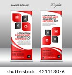 red roll up banner stand... | Shutterstock .eps vector #421413076