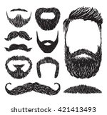 set of mustache and beard... | Shutterstock .eps vector #421413493