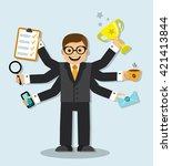 cartoon businessman has 6 arms...   Shutterstock . vector #421413844