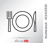 line icon  plate  knife and fork | Shutterstock .eps vector #421415533