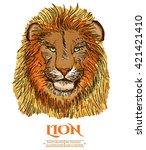 lion portrait isolated on white ... | Shutterstock .eps vector #421421410