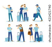 touristic people set with males ... | Shutterstock .eps vector #421421740