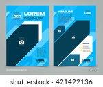blue vector leaflet brochure... | Shutterstock .eps vector #421422136