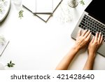 workspace with laptop  girl's... | Shutterstock . vector #421428640