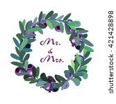 vector wreath with leaves and... | Shutterstock .eps vector #421428898