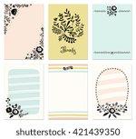 set of 6 floral cards.  | Shutterstock .eps vector #421439350