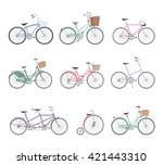 set of retro bicycles isolated... | Shutterstock .eps vector #421443310