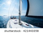 young friends sailing in a blue ... | Shutterstock . vector #421443358