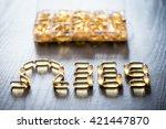 omega 3 6 9 fish oil yellow... | Shutterstock . vector #421447870