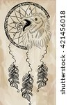 boho style dreamcatcher with... | Shutterstock .eps vector #421456018