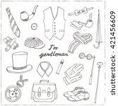 gentleman's vintage accessories ... | Shutterstock .eps vector #421456609