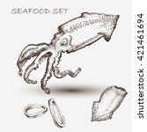 illustration ink seafood squid  ... | Shutterstock .eps vector #421461694