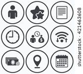 clock  wifi and stars icons.... | Shutterstock .eps vector #421463608