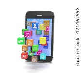 icon app fall in smart phone....   Shutterstock . vector #421465993
