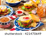 homemade memorial day hamburger ... | Shutterstock . vector #421470649