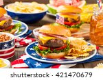homemade memorial day hamburger ...   Shutterstock . vector #421470679