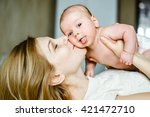 portrait of mother and baby... | Shutterstock . vector #421472710