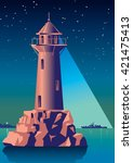 Lighthouse Illuminates The Ship ...