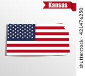 Kansas  State Map With Us Flag...