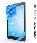 black tablet with blue bow and... | Shutterstock . vector #421477600