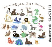 set of cute vector zoo animals. ... | Shutterstock .eps vector #421478548