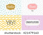 happy cards set  vector... | Shutterstock .eps vector #421479163