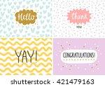 happy cards set  vector... | Shutterstock .eps vector #421479163