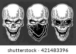 skull smiling with bandana and... | Shutterstock .eps vector #421483396