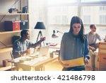team work discussing. open... | Shutterstock . vector #421486798