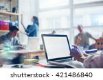 young startup group working in... | Shutterstock . vector #421486840