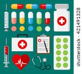 set of flat medical icons.... | Shutterstock .eps vector #421491328