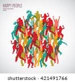 group happy color dancing...   Shutterstock .eps vector #421491766