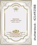 wedding invitation card with... | Shutterstock .eps vector #421492588