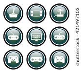 video games icons glass button... | Shutterstock .eps vector #421497103