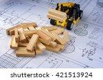 toy construction machine builds ... | Shutterstock . vector #421513924