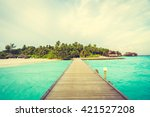 beautiful tropical maldives... | Shutterstock . vector #421527208