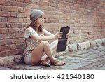 beautiful hipster young girl... | Shutterstock . vector #421540180