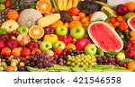 group of fresh fruits and...   Shutterstock . vector #421546558