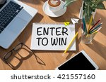 enter to win  open book on... | Shutterstock . vector #421557160