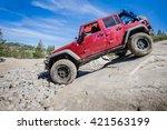 4x4 truck descending steep rock ...